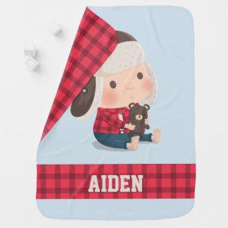 Cute Baby Lumberjack Boy and Teddy Bear Blanket