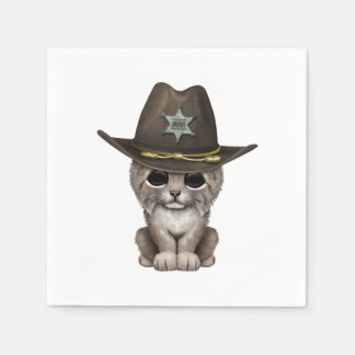 Cute Baby Lynx Cub Sheriff Disposable Serviettes