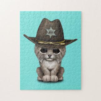 Cute Baby Lynx Cub Sheriff Jigsaw Puzzle