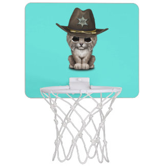 Cute Baby Lynx Cub Sheriff Mini Basketball Hoop