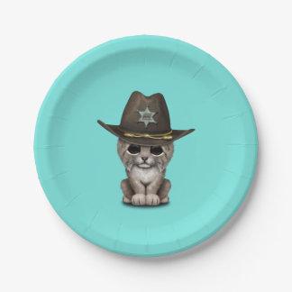 Cute Baby Lynx Cub Sheriff Paper Plate