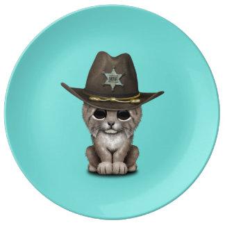 Cute Baby Lynx Cub Sheriff Plate