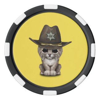 Cute Baby Lynx Cub Sheriff Poker Chips