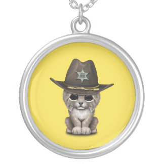 Cute Baby Lynx Cub Sheriff Silver Plated Necklace