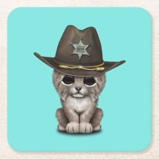 Cute Baby Lynx Cub Sheriff Square Paper Coaster