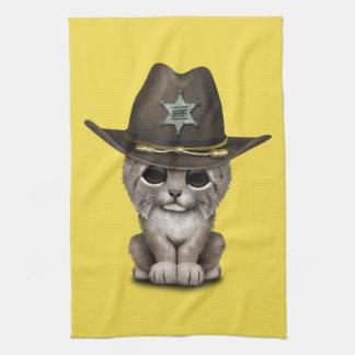 Cute Baby Lynx Cub Sheriff Tea Towel