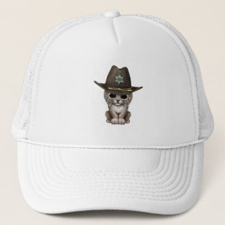 Cute Baby Lynx Cub Sheriff Trucker Hat