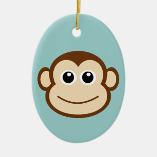 Cute Baby Monkey Face Ceramic Oval Decoration