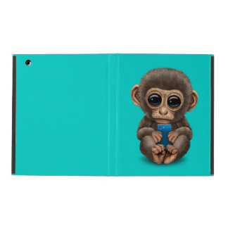Cute Baby Monkey Holding a Cell Phone Blue Cases For iPad