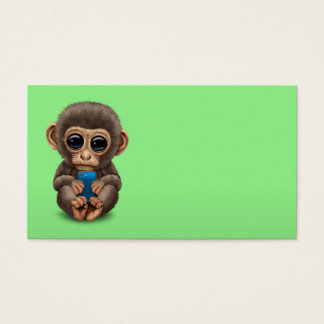 Cute Baby Monkey Holding a Cell Phone Green