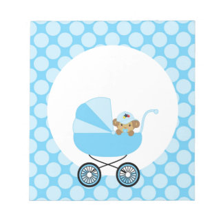 Cute Baby Monkey In A Blue Carriage Notepads