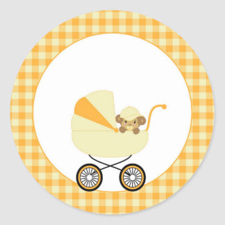 Cute Baby Monkey In Yellow Carriage Round Sticker
