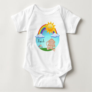 Cute baby Monkey rainbow sun Baby Bodysuit