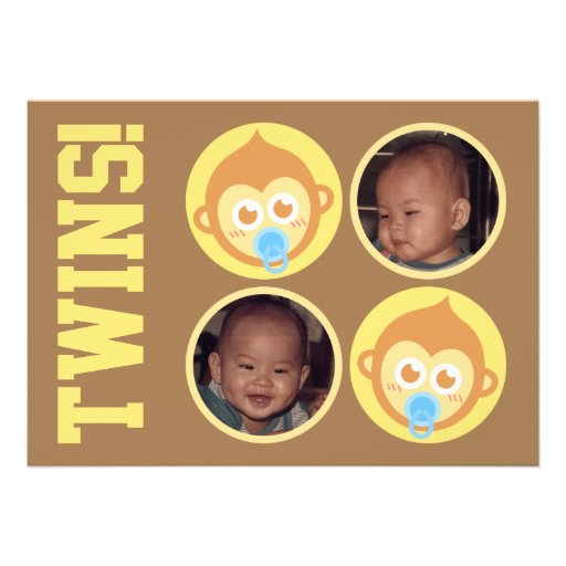 Cute Baby Monkey Twins with Photo Personalisation Personalized Invitations