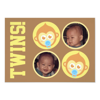 Cute Baby Monkey Twins with Photo Personalisation 5x7 Paper Invitation Card