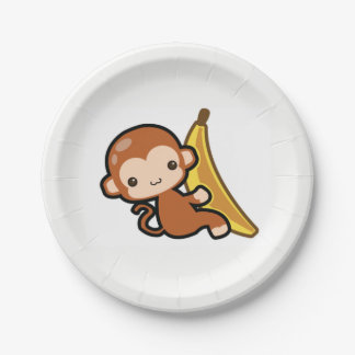 Cute Baby Monkey Whit A Banana Paper Plate