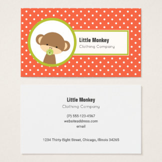 Cute Baby Monkey with a Pacifier on Polka Dots Business Card