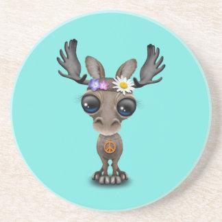 Cute Baby Moose Hippie Coaster
