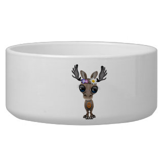 Cute Baby Moose Hippie Dog Food Bowls