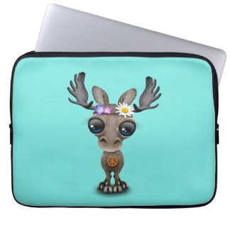 Cute Baby Moose Hippie Laptop Sleeve