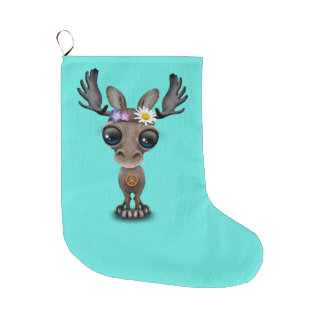 Cute Baby Moose Hippie Large Christmas Stocking