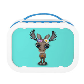 Cute Baby Moose Hippie Lunch Box
