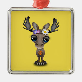 Cute Baby Moose Hippie Metal Ornament