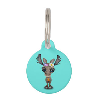 Cute Baby Moose Hippie Pet Tag