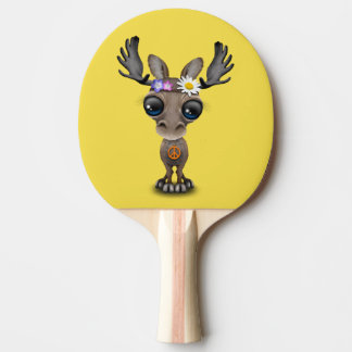 Cute Baby Moose Hippie Ping Pong Paddle