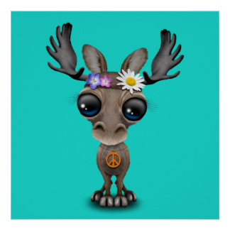 Cute Baby Moose Hippie Poster