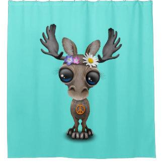 Cute Baby Moose Hippie Shower Curtain