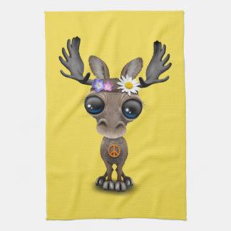 Cute Baby Moose Hippie Tea Towel