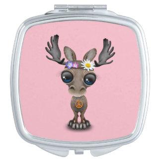 Cute Baby Moose Hippie Travel Mirror