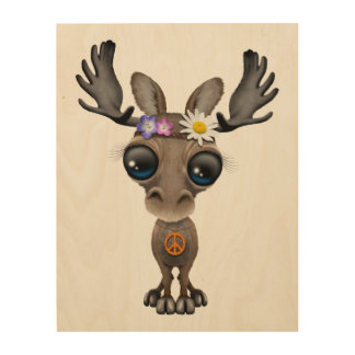 Cute Baby Moose Hippie Wood Wall Decor
