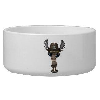 Cute Baby Moose Sheriff Dog Water Bowls