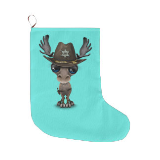 Cute Baby Moose Sheriff Large Christmas Stocking