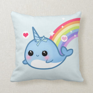 Cute baby narwhal and rainbow cushion