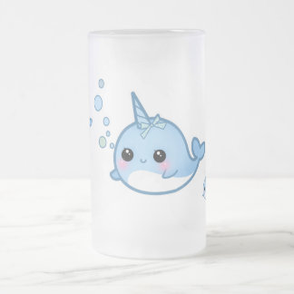 Cute baby narwhal frosted glass beer mug