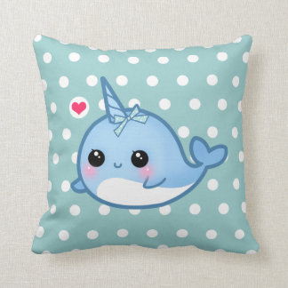 Cute baby narwhal on polka dots pillow