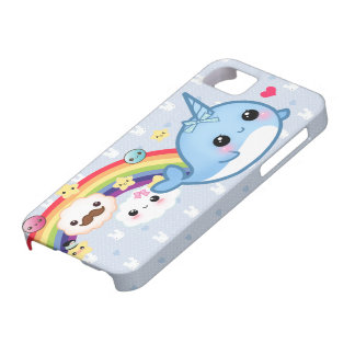 Cute baby narwhal with rainbow, clouds and stars barely there iPhone 5 case