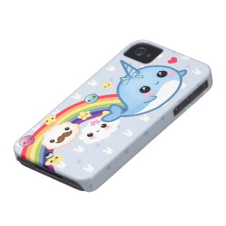 Cute baby narwhal with rainbow, clouds and stars Case-Mate iPhone 4 cases