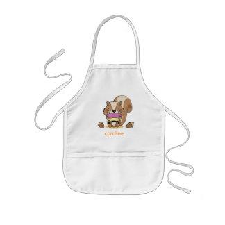 Cute baby network squirrel breakfast huzelnuts kids apron