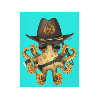 Cute Baby Octopus Zombie Hunter Canvas Print