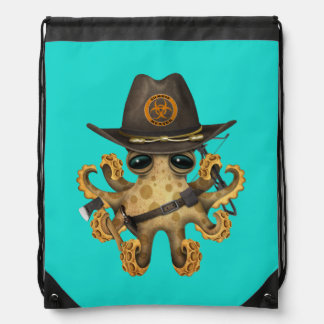 Cute Baby Octopus Zombie Hunter Drawstring Bag