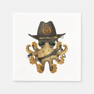 Cute Baby Octopus Zombie Hunter Paper Serviettes