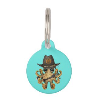 Cute Baby Octopus Zombie Hunter Pet Name Tag