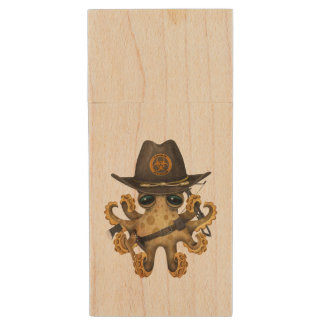 Cute Baby Octopus Zombie Hunter Wood USB Flash Drive