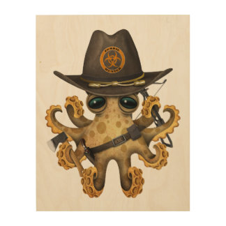 Cute Baby Octopus Zombie Hunter Wood Wall Art