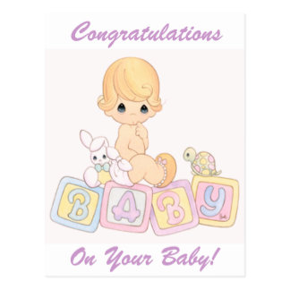 Cute Baby on Toy Blocks Postcard