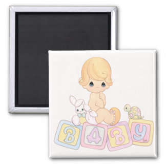 Cute Baby on Toy Blocks Square Magnet